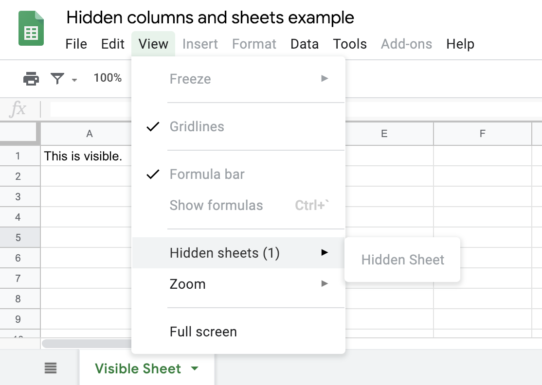 Why Security Expectations Matter: Hidden Content is Readable in Shared Google Sheets
